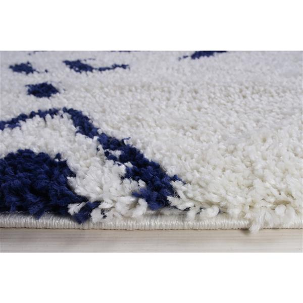 La Dole Rugs® Shaggy Kenitra Abstract Big Runner - 3' x 10' - White