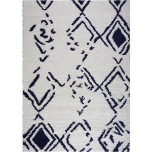 Gros tapis à poil long abstrait «Kenitra», 3' x 10', blanc
