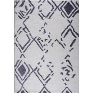 Tapis à poil long abstrait «Kenitra», 4' x 6', blanc/gris