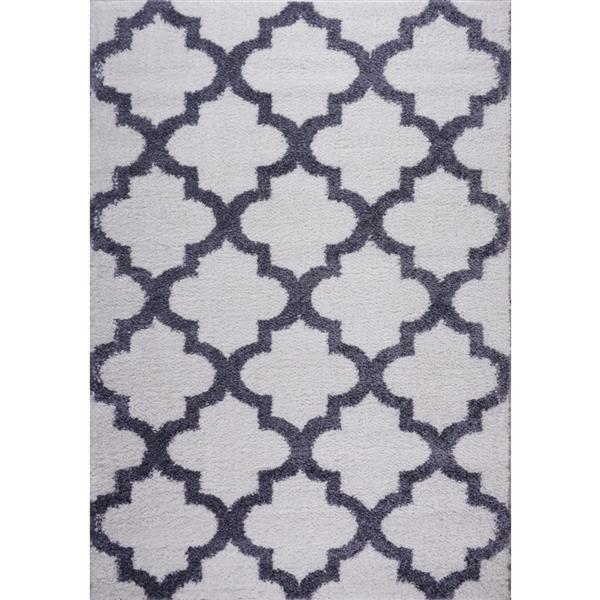 La Dole Rugs® Shaggy Fes Abstract Area Rug - 5' x 8' - Dark Grey/White