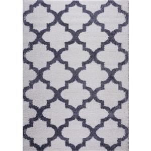 Tapis à poil long abstrait «Fes», 4' x 6', gris foncé/blanc