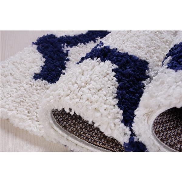 La Dole Rugs® Shaggy Fes Abstract Area Rug - 4' x 6' - Dark Blue/White