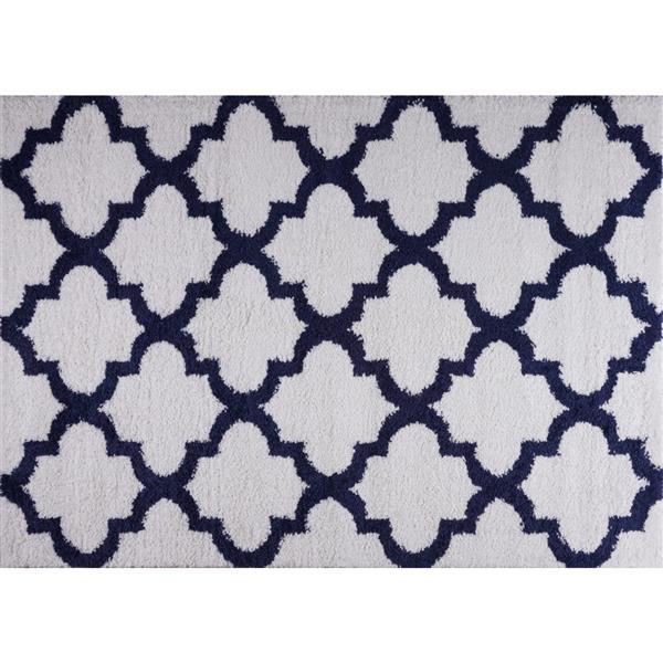 La Dole Rugs® Shaggy Fes Abstract Area Rug - 5' x 8' - Dark Blue/White