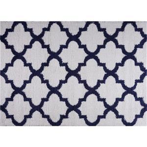 Tapis à poil long abstrait «Fes», 7 'x 10', bleu foncé/blanc