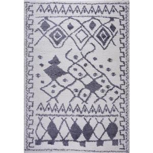 Tapis à poil long abstrait «Asilah», 7' x 10', gris foncé