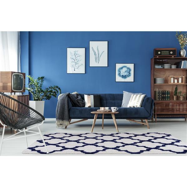La Dole Rugs® Shaggy Fes Abstract Big Runner - 3' x 10' - Dark Blue/White
