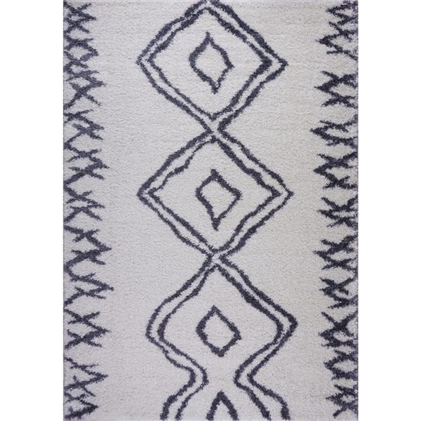 Tapis à poil long abstrait «Casablanca», 5' x 8', blanc