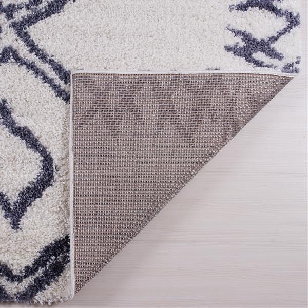 Tapis à poil long abstrait «Casablanca», 3' x 10', gris