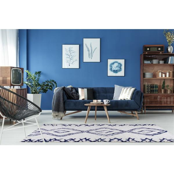 La Dole Rugs® Shaggy Casablanca Abstract Rug - 4' x 6' - Dark Blue/White