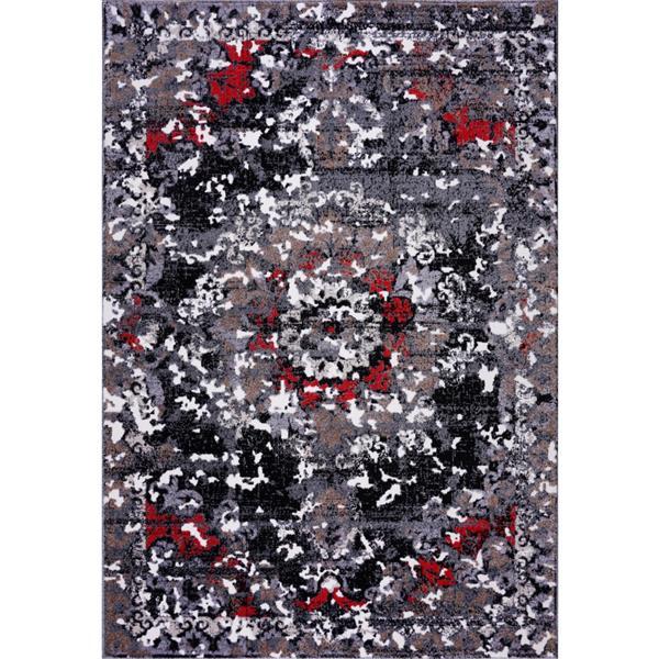 Tapis classique rectangulaire «Grayton», 5' x 8', gris/rouge