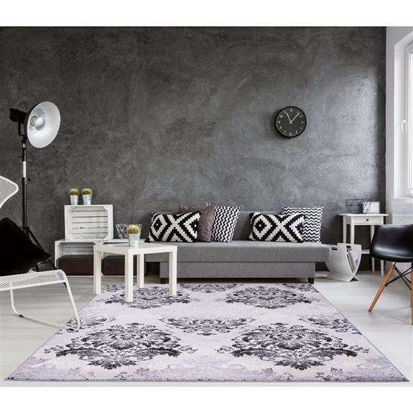 La Dole Rugs® Milan Classic Damask Rectangular Rug - 8' x 11' - Grey