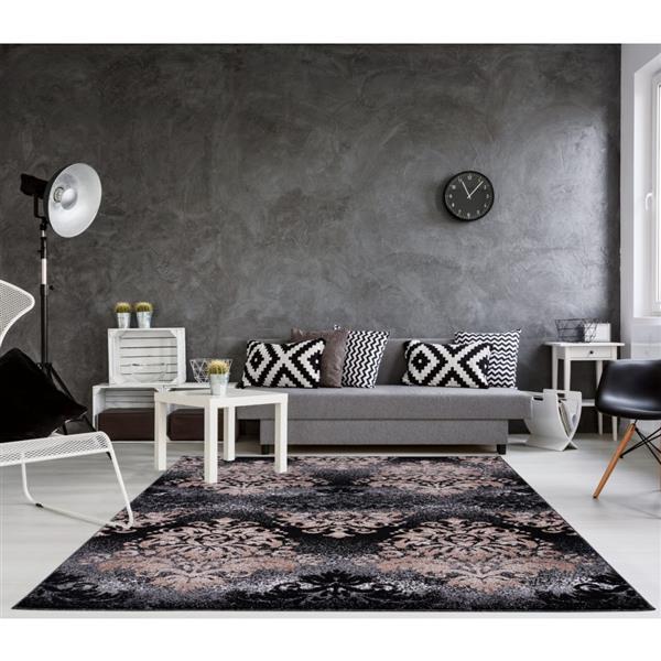 La Dole Rugs® Milan Classic Damask Rectangular Rug - 8' x 11' - Gold