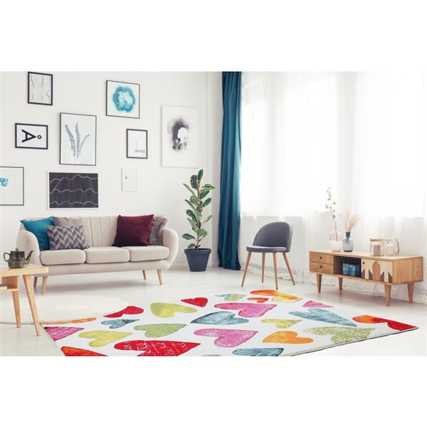 La Dole Rugs®  Kids Heart Theme Area Rug - 8' x 11' - Cream/Multicolour