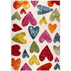 La Dole Rugs®  Kids Heart Theme Area Rug - 8' x 11' - Cream/Multicolour
