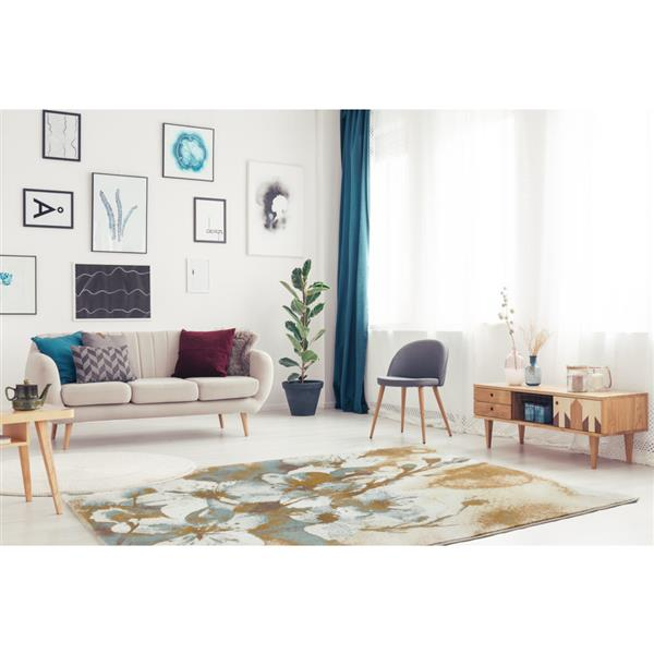 La Dole Rugs® Painting Floral Abstract Area Rug - 5' x 8' - Beige/Cream