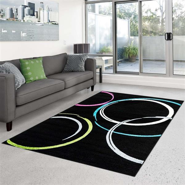 "La Dole Rugs®  Geometric Rectangular Area Rug - 5' 3"" x 7' 4"" - Black"