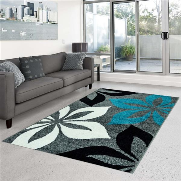 "La Dole Rugs®  Contemporary Rectangular Floral Rug - 5' 3"" x 7' 4"" - Grey"