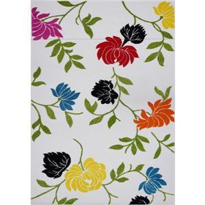 Tapis à motif floral rectangulaire, 5' x 8', crème/vert