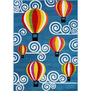 La Dole Rugs®  Kids Hot Air Balloon and Sky Area Rug - 8' x 11' - Blue