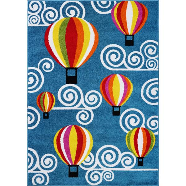 La Dole Rugs®  Kids Hot Air Balloon and Sky Area Rug  - 5' x 7' - Blue