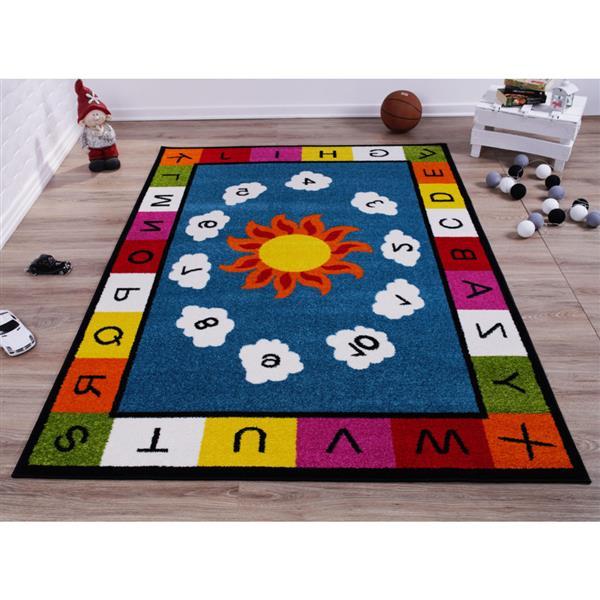 La Dole Rugs® Kids Numbers and Alphabet Rug - 8' x 11' - Blue/Multicolour