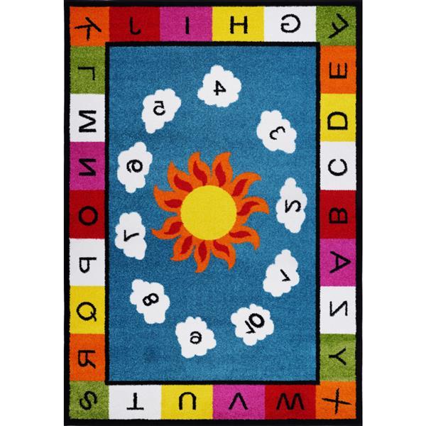 La Dole Rugs® Kids Numbers and Alphabet Rug - 5' x 7' - Blue/Multicolour