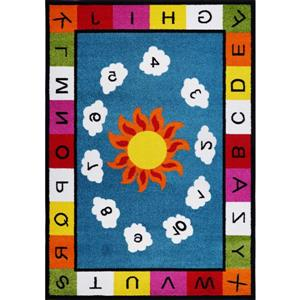 Kids Numbers and Alphabet Rug - 5' x 7' - Blue/Multicolour