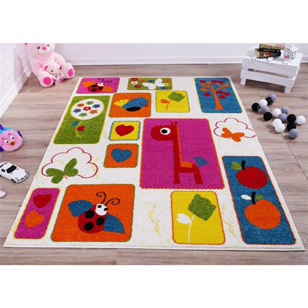 La Dole Rugs® Kids Nature Area Rug - 4' x 6' - Cream/Multicolour