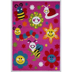 La Dole Rugs®  Kids Bees and Flowers Area Rug - 6' x 9' - Pink