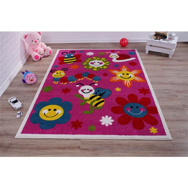 La Dole Rugs®  Kids Bees and Flowers Area Rug - 8' x 11' - Pink