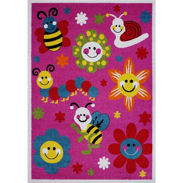 La Dole Rugs®  Kids Bees and Flowers Area Rug - 4' x 6' - Pink