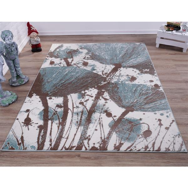 La Dole Rugs®  Floral Poppy Abstract Area Rug - 7' x 10' - Blue/Cream