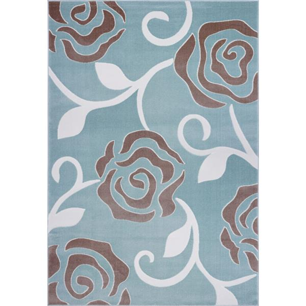 La Dole Rugs® Rose Abstract Rectangular Rug - 5' x 8' - Light Blue