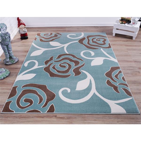 La Dole Rugs® Rose Abstract Rectangular Rug - 4' x 6' - Light Blue
