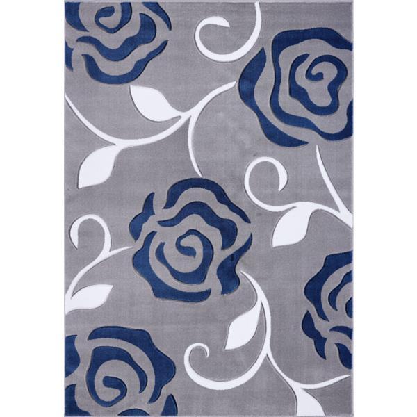 La Dole Rugs® Rose European Rectangular Area Rug - 3' x 10' - Grey/Blue