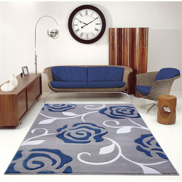 La Dole Rugs® Rose European Rectangular Area Rug - 4' x 6' - Grey/Blue