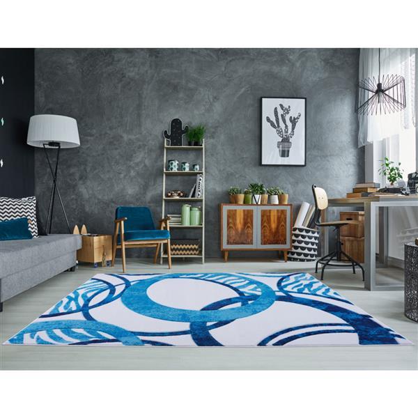 La Dole Rugs® Rings European Geometric Area Rug - 3' x 10' - Blue/White