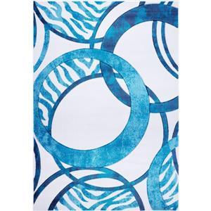 Tapis géométrique européenne «Rings», 5' x 8', bleu/blanc