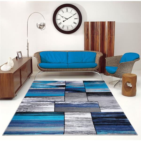 La Dole Rugs®  Copper Abstract Rectangular Rug - 7' x 10' - Turquoise
