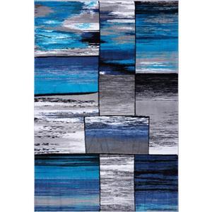 Tapis abstrait rectangulaire cuivre, 5' x 8', gris/turquoise