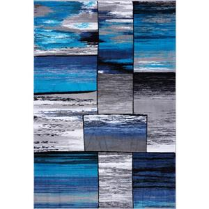 Tapis abstrait rectangulaire cuivre, 4' x 6', gris/turquoise