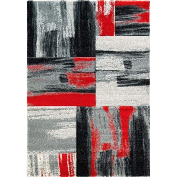 "La Dole Rugs®  Copper Currant Geometric Doormat - 5' 2"" x 7' 3"" - Grey"