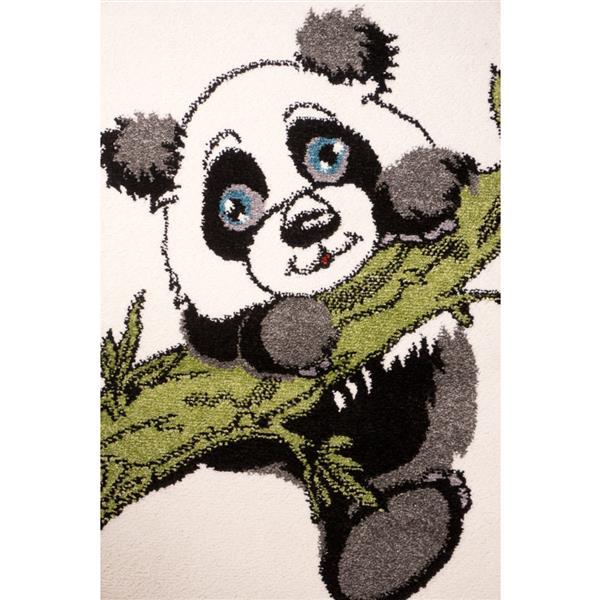 La Dole Rugs® Kids Panda and Bamboo Area Rug - 7' x 10' - Cream/Green