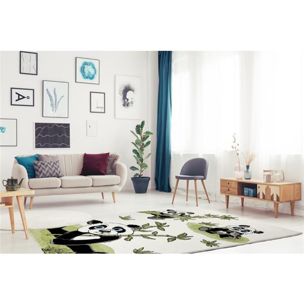 La Dole Rugs® Kids Panda and Bamboo Area Rug - 4' x 6' - Cream/Green