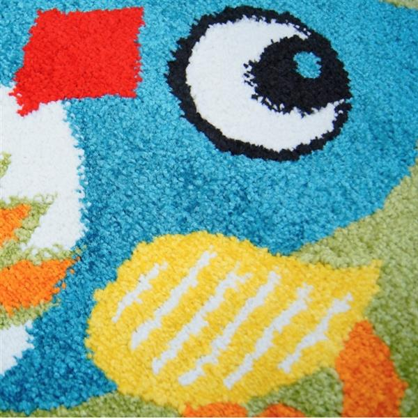 La Dole Rugs® Kids Owl Theme Area Rug - 6' 2-in x 9' 2-in - Green