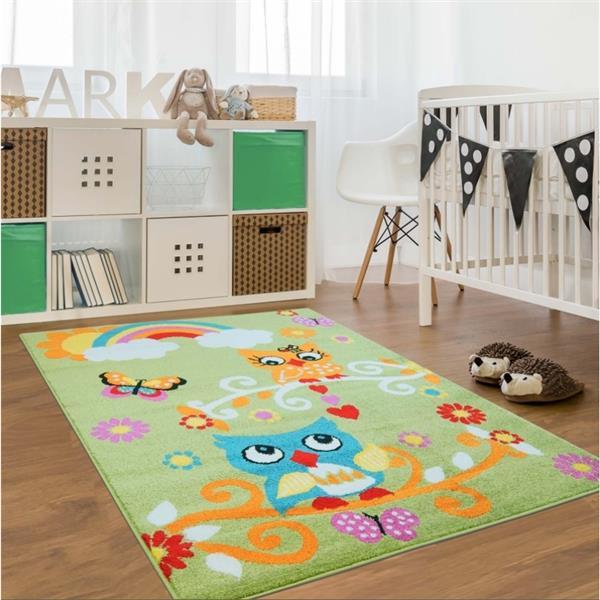 La Dole Rugs® Kids Owl Theme Area Rug - 3' 9-in x 5' 2-in - Green