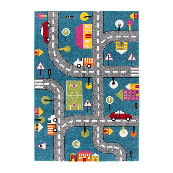 """La Dole Rugs®  Kids Cars and Roads Theme Area Rug - 5' 2"""" x 7' 3"""" - Blue"""