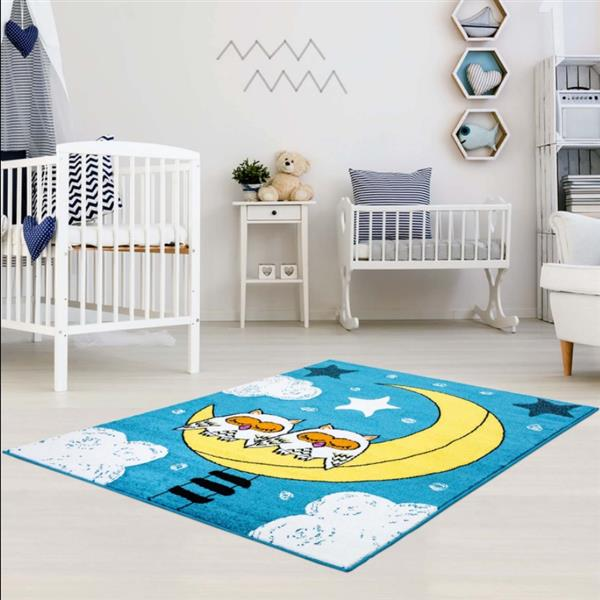 La Dole Rugs® Kids Owls and Sky Theme Area Rug - 3' 9-in x 5' 2-in - Blue