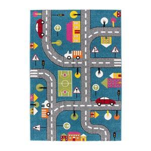 """Tapis pour enfants à thème voitures, 3' 9"""" x 5' 2"""", bleu"""