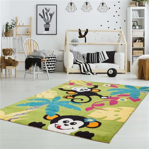 La Dole Rugs® Kids Monkeys and Trees Rug - 6' 2-in x 9' 2-in - Multicolour